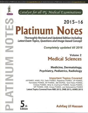 Platinum Notes: Medical Sciences (2015